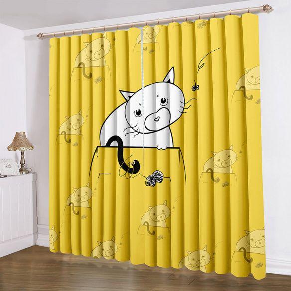 3d ceiling curtain cat living room