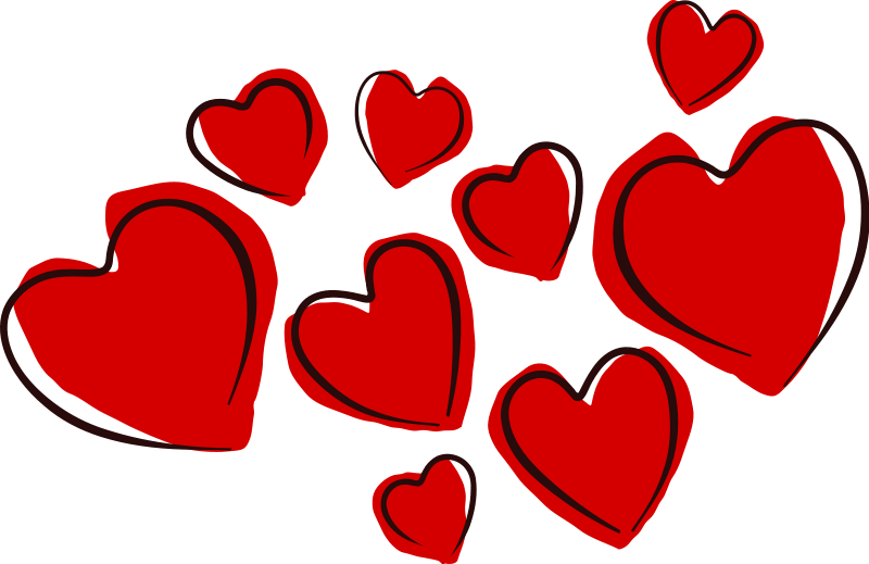 A cluster of hand-drawn red hearts