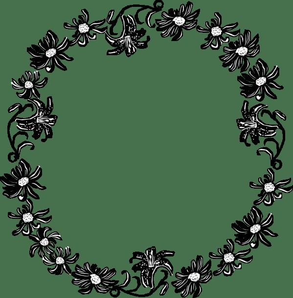 Black Flower Border Clip Art