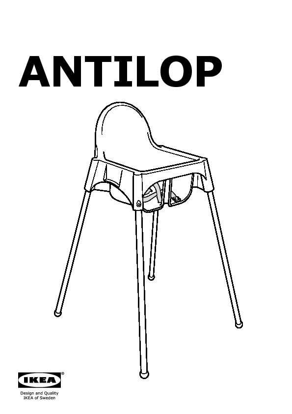 ANTILOP Highchair with safety belt white, silver color