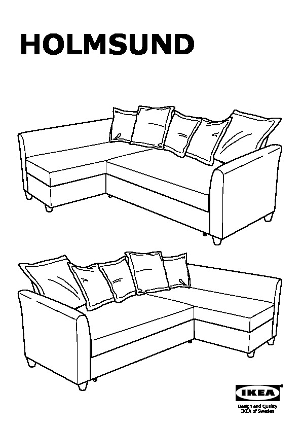 HOLMSUND Corner sofa-bed Ransta light pink (IKEA United