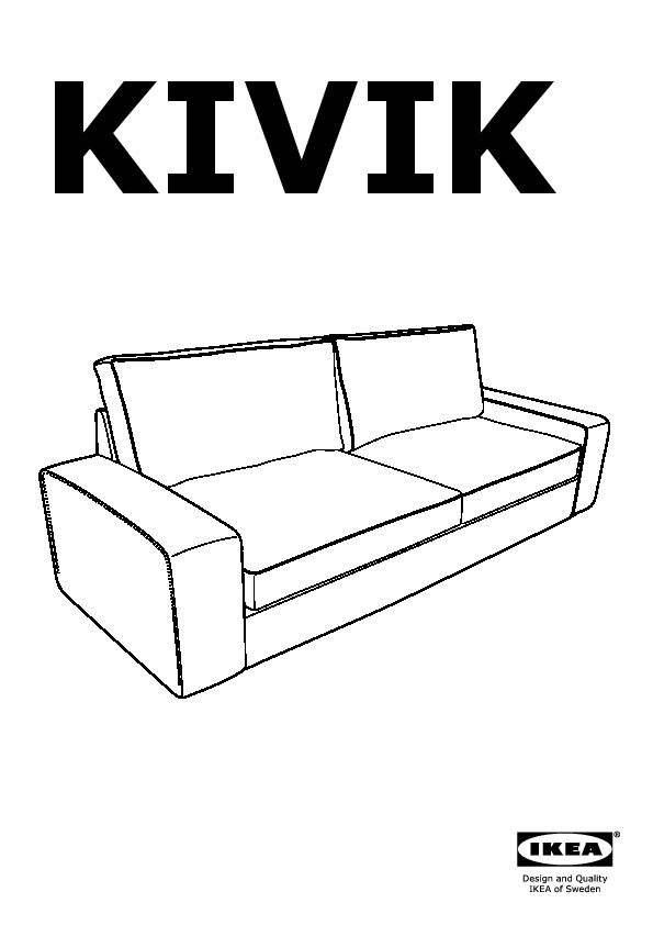 KIVIK Three-seat sofa-bed Tenö light grey (IKEA United