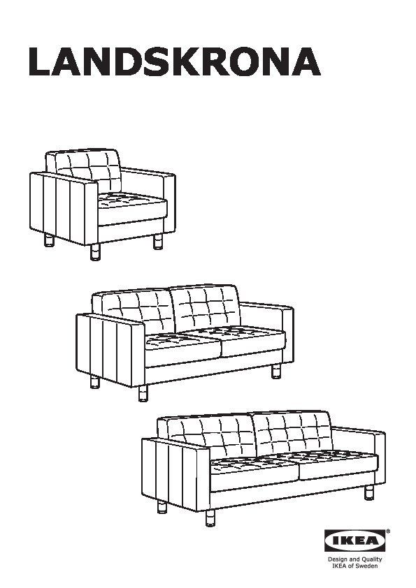 Divani 2 Posti Ikea Pelle : divani, posti, pelle, LANDSKRONA, Divano, Posti, Grann,, Bomstad, Nero/legno, IKEAPEDIA