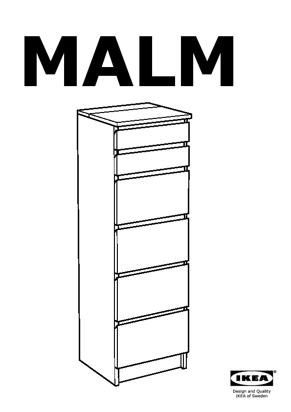 MALM Chest of 6 drawers white, mirror glass (IKEA United