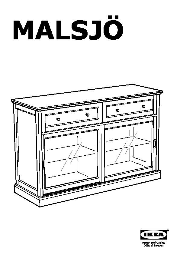 MALSJÖ Sideboard basic unit black stained (IKEA Canada