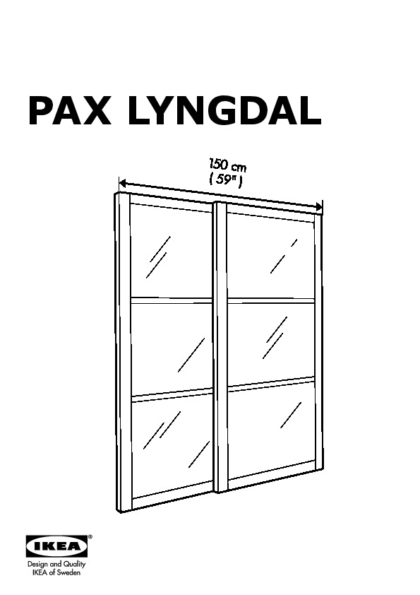 PAX LYNGDAL Pair of sliding doors glass, aluminum (IKEA