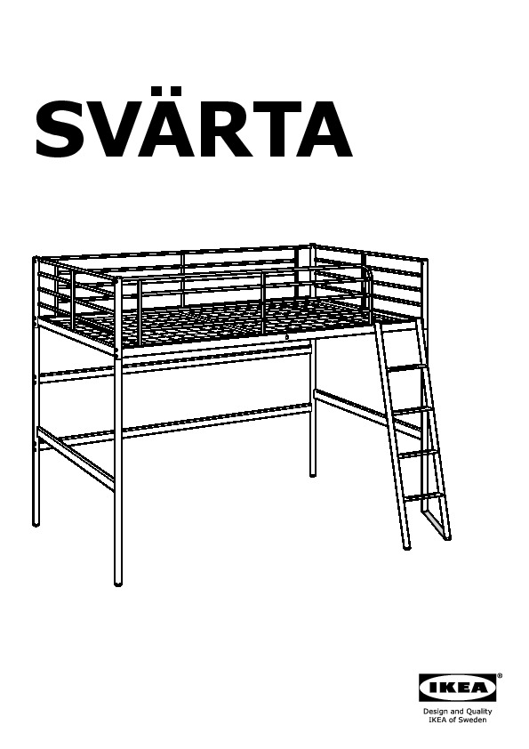 SVÄRTA Loft bed frame silver color (IKEA Canada (English