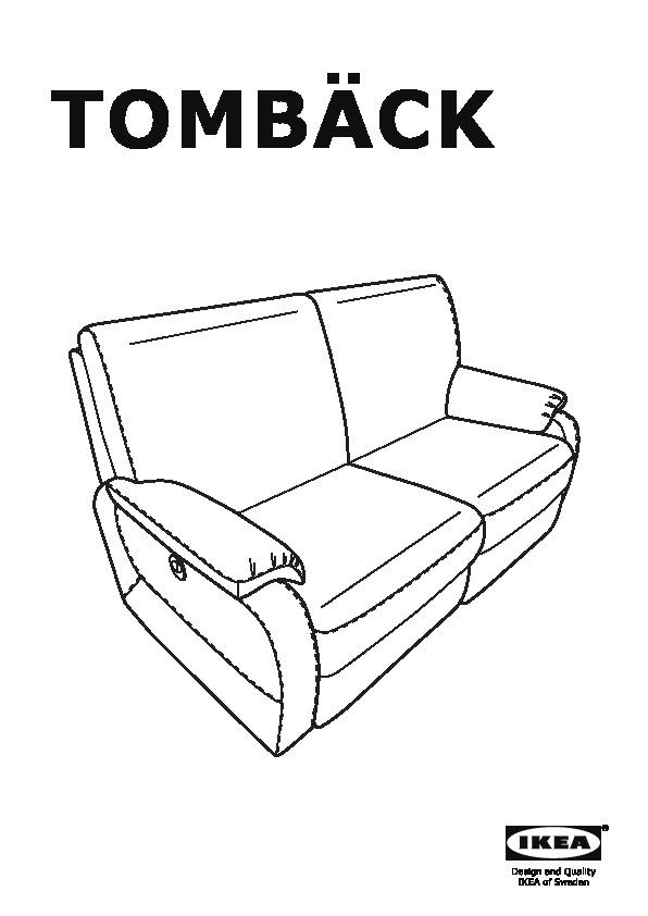 TOMBÄCK Sofa with adjustable seat/back Kimstad black (IKEA