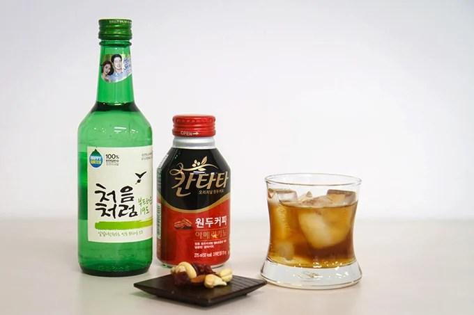 Soju and coffee cocktail