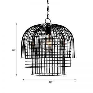 Metal Shade Black Hanging Pendant Wire Cage 1 Bulb Rustic