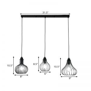 Metal Black Suspension Lamp Wire Caged 3-Bulb Industrial