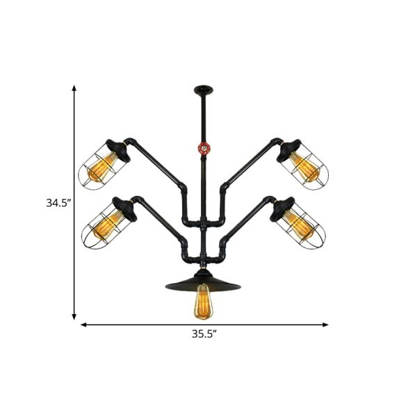 5 Lights Wire Cage Suspended Light Industrial Style