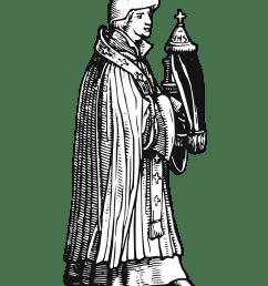 medieval priest with sacrament [ 958 x 1355 Pixel ]