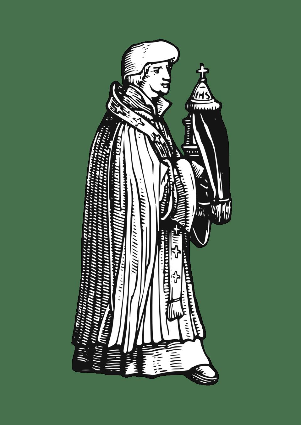 medium resolution of medieval priest with sacrament