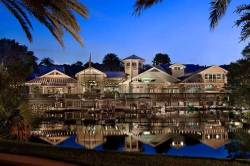 Waterfront view of Disney's Old Key West Resort at nighttime.