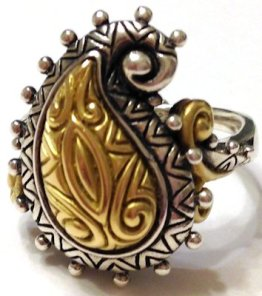 All-metal paisley ring with carved 18K center.