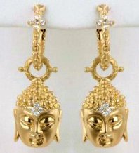 18K Buddha charm earrings.