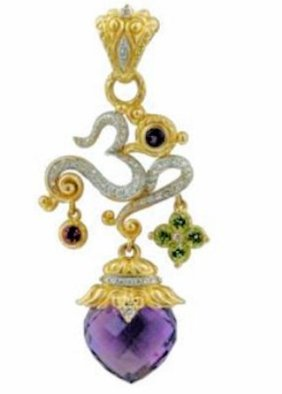 18K gold version of the om with diamonds, an onion-shaped amethyst, and dangling gemstone accents.