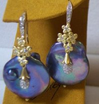 Moon Dance earrings: large peacock keishi pearls with clustered flowers, in 18K and diamonds.