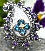 Ring from mother-of-pearl Buddha's Bodhi Paisley suite. With amethyst and blue topaz.