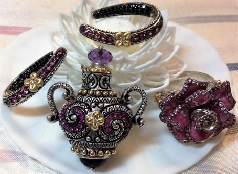 Bixby pink sapphire featured in oval hoop earrings, wish bottle, and enamel rose ring.