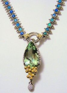 Opal necklace with flower dance enhancer in mint quartz.