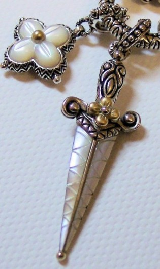 Mother-of-pearl dagger with mother-of-pearl flower. Photo by RSBingham
