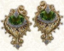 Peridot peacock earrings in 18K; rare coloration.
