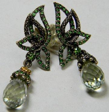 From the Paridiso collection, rare tsavorite/mint quartz earrings.