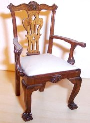 Chippendale chair carved by Joe Murter, nephew to Lou. Note the ball-and-claw feet and the carved shell at the top of the chair.