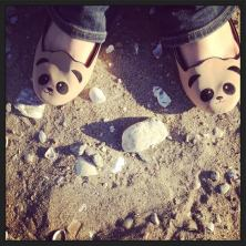 Panda shoes: not practical for the beach