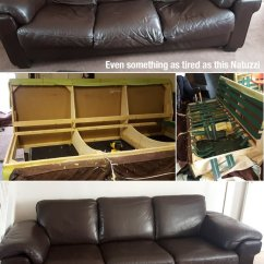 Reupholster Leather Sofa Dacron Cushions This Old Natuzzi Was Broken And Saggy. Not ...