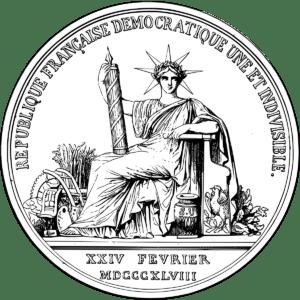Sceau de l'état français avec coq sur l'assise