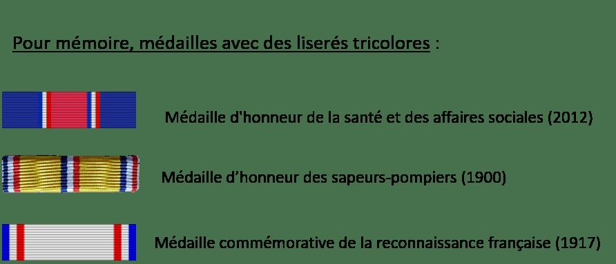 Médailles avec des liserés tricolores