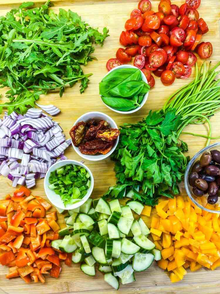 Greek Pasta Salad with Tofu Feta, vegan