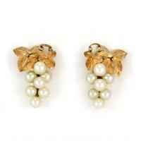 Pearl 10k gold earrings grape cluster screw back vintage ...