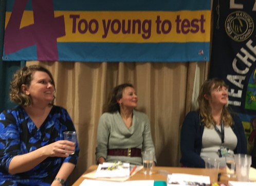 From left - right: Elaine Bennett, the founder of Keep Early Years Unique, Rescue Our Schools co-founder Madeleine Holt and Sara Tomlinson of Lambeth NUT branch.