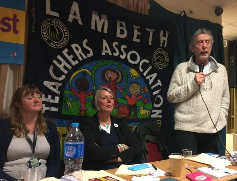 From left - right: Sara Tomlinson is Secretary of the NUT section of the NEU, NUT National President Louise Regan, and children's author Michael Rosen.