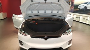 Overview of the TESLA X front trunk (as they refer to it). Notice the orange tags in the area directly in front of the passenger seat.)