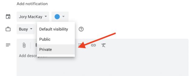 How to make a Google Calendar event private