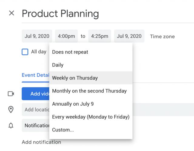How to create recurring meetings in Google Calendar