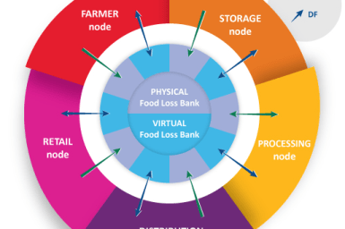 Food Loss Bank diagram, showing the farmer, storage, processing, distribution, and retail nodes that go into it