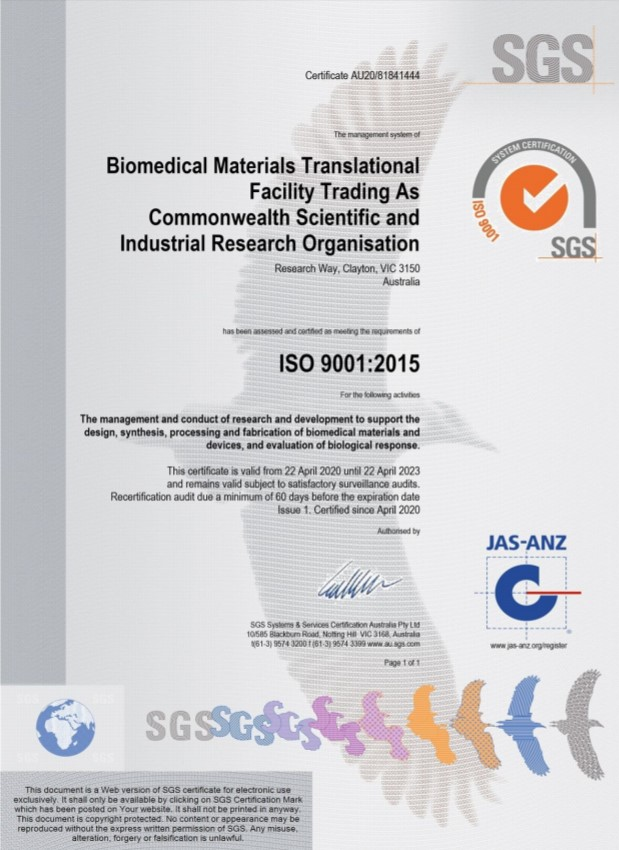 Biomedical Materials Translational Facility Trading As Commonwealth Scientific and Industrial Research Organisation
