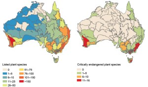Two maps of Australia with different colours depicting different plant species.
