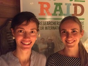 Jeda Palmer and Cécile Godde at the RAID early and mid-career researcher speed networking event