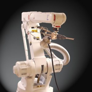 Robotic arm with spray attachment