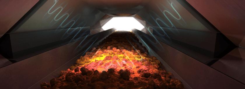 Crushed ore on conveyor belt