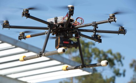Unmanned Multirotor Drone Flying