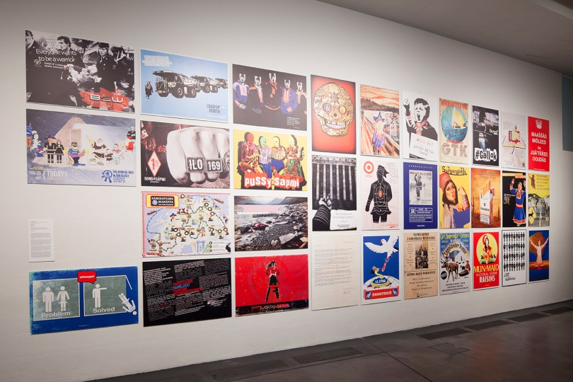 Suohpanterror, Checkpoint n:o 169, 2015, a series of posters, Museum of Contemporary Art Kiasma, installation view, DEMONSTRATING MINDS: Disagreements in, Contemporary Art, 9.10.2015 - 20.03.2016. Photo: Finnish National Gallery / Pirje Mykkänen