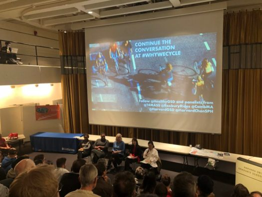 From above, panelists discussing what we can learn from Dutch cycling culture